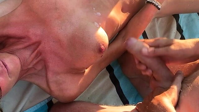 Hundige Beach, 8 guys com.. brunette cumshot fingering
