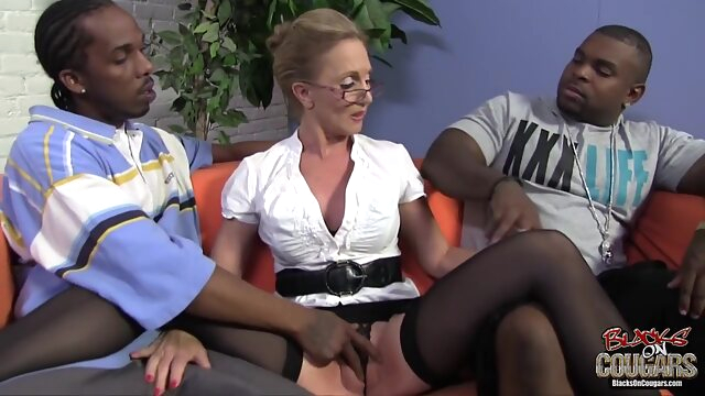Mature blonde woman, Jenna Covelli cant hold back from having threesomes with handsome, black guys big cock big tits blonde