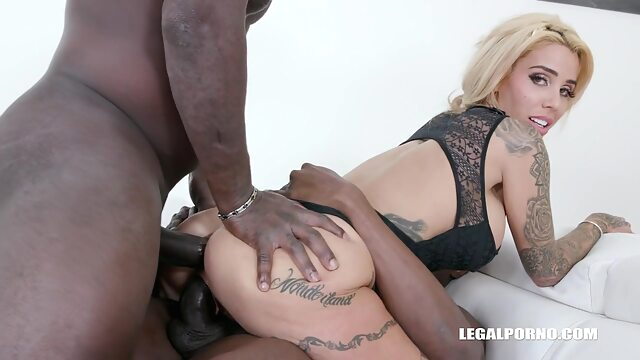 Alice Judge is sucking black cocks and getting stuffed with two, at the same time anal big cock big tits