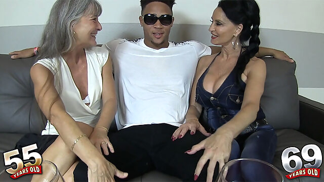 Rita, Leilani and a big, black cock - Leilani Lei and Rita Daniels - 50PlusMILFs high heels interracial lingerie