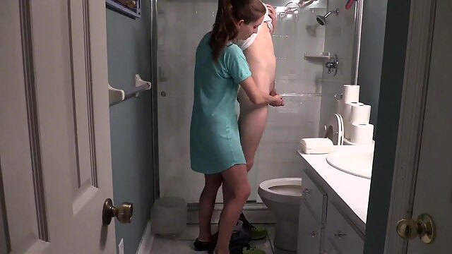 My Bathroom Handjob amateur cumshot handjob
