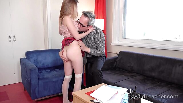 Tricky Old Teacher - Sweet student passes test in bed babe blowjob brunette