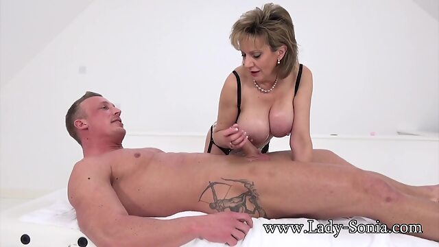 Lady Sonia massage big tits cumshot handjob